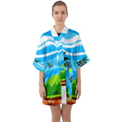Landscape Background Nature Sky Quarter Sleeve Kimono Robe