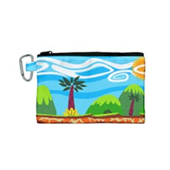 Landscape Background Nature Sky Canvas Cosmetic Bag (small) by Nexatart