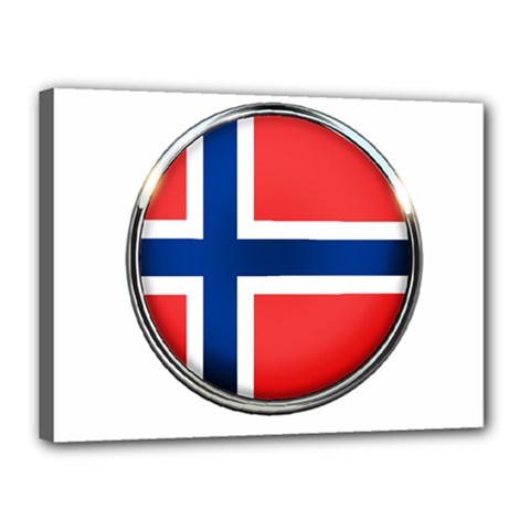 Norway Country Nation Blue Symbol Canvas 16  X 12