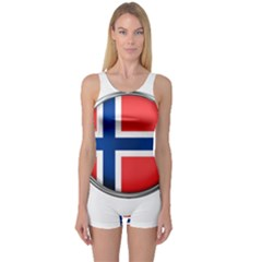Norway Country Nation Blue Symbol One Piece Boyleg Swimsuit