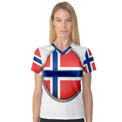 Norway Country Nation Blue Symbol V Neck Sport Mesh Tee