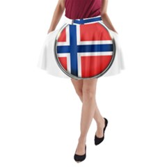 Norway Country Nation Blue Symbol A Line Pocket Skirt