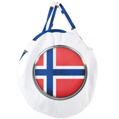Norway Country Nation Blue Symbol Giant Round Zipper Tote