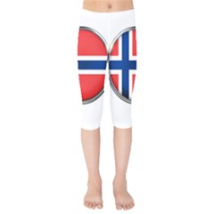 Norway Country Nation Blue Symbol Kids  Capri Leggings