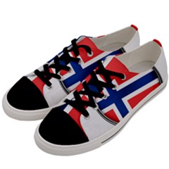 Norway Country Nation Blue Symbol Men s Low Top Canvas Sneakers by Nexatart