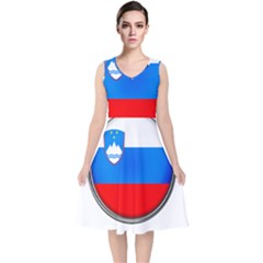 Slovenia Flag Mountains Country V Neck Midi Sleeveless Dress