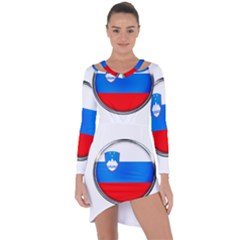 Slovenia Flag Mountains Country Asymmetric Cut Out Shift Dress