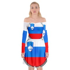 Slovenia Flag Mountains Country Off Shoulder Skater Dress