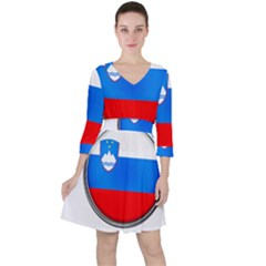 Slovenia Flag Mountains Country Ruffle Dress