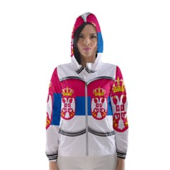 Serbia Flag Icon Europe National Hooded Wind Breaker (women)