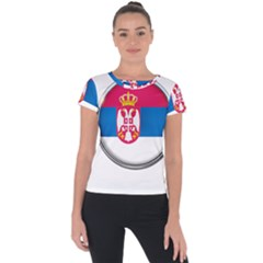 Serbia Flag Icon Europe National Short Sleeve Sports Top