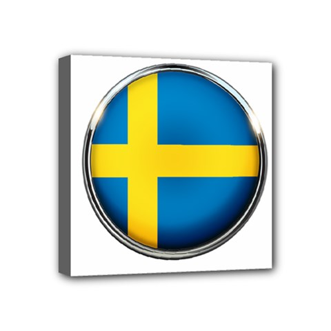 Sweden Flag Country Countries Mini Canvas 4  X 4  by Nexatart