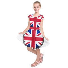 United Kingdom Country Nation Flag Kids  Short Sleeve Dress