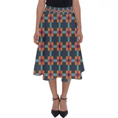 Squares Geometric Abstract Background Perfect Length Midi Skirt