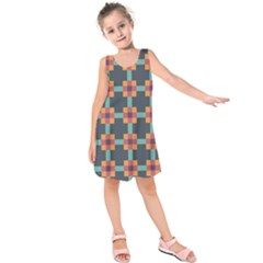 Squares Geometric Abstract Background Kids  Sleeveless Dress by Nexatart