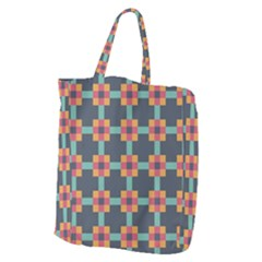 Squares Geometric Abstract Background Giant Grocery Zipper Tote