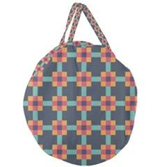 Squares Geometric Abstract Background Giant Round Zipper Tote