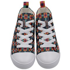 Squares Geometric Abstract Background Kid s Mid Top Canvas Sneakers