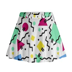 Art Background Abstract Unique Mini Flare Skirt