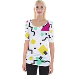 Art Background Abstract Unique Wide Neckline Tee
