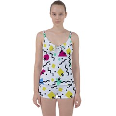Art Background Abstract Unique Tie Front Two Piece Tankini