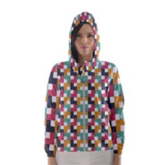 Background Abstract Geometric Hooded Wind Breaker (women)