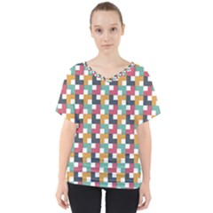 Background Abstract Geometric V Neck Dolman Drape Top