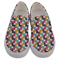 Background Abstract Geometric Men s Canvas Slip Ons
