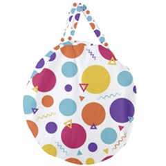 Background Polka Dot Giant Round Zipper Tote
