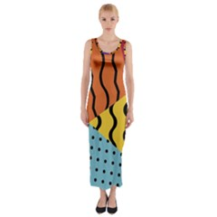 Background Abstract Memphis Fitted Maxi Dress