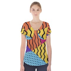 Background Abstract Memphis Short Sleeve Front Detail Top