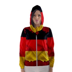 Germany Map Flag Country Red Flag Hooded Wind Breaker (women)