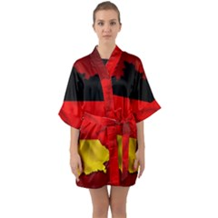 Germany Map Flag Country Red Flag Quarter Sleeve Kimono Robe