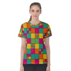 Squares Abstract Background Abstract Women s Cotton Tee