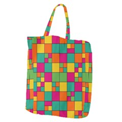 Squares Abstract Background Abstract Giant Grocery Zipper Tote