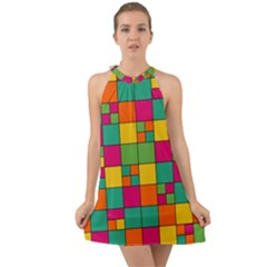 Squares Abstract Background Abstract Halter Tie Back Chiffon Dress