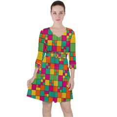 Squares Abstract Background Abstract Ruffle Dress