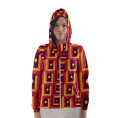 3 D Squares Abstract Background Hooded Wind Breaker (women)