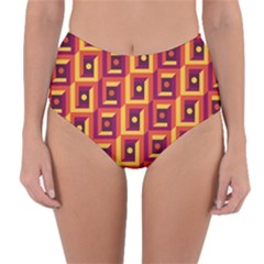 3 D Squares Abstract Background Reversible High Waist Bikini Bottoms