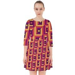 3 D Squares Abstract Background Smock Dress