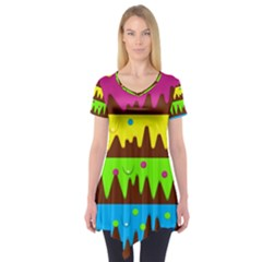 Illustration Abstract Graphic Short Sleeve Tunic