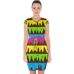 Illustration Abstract Graphic Capsleeve Drawstring Dress