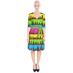 Illustration Abstract Graphic Wrap Up Cocktail Dress