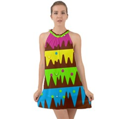 Illustration Abstract Graphic Halter Tie Back Chiffon Dress