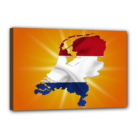 Holland Country Nation Netherlands Flag Canvas 18  X 12