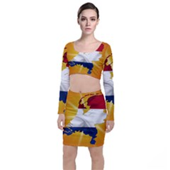 Holland Country Nation Netherlands Flag Long Sleeve Crop Top & Bodycon Skirt Set by Nexatart