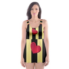 Love Heart Pattern Decoration Abstract Desktop Skater Dress Swimsuit