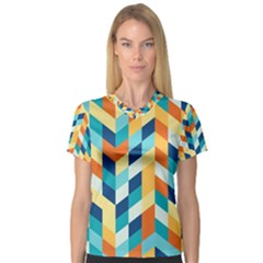 Geometric Retro Wallpaper V Neck Sport Mesh Tee