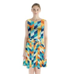 Geometric Retro Wallpaper Sleeveless Waist Tie Chiffon Dress