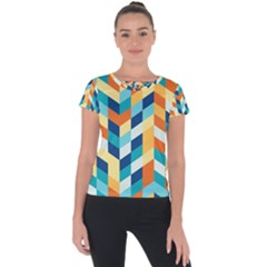 Geometric Retro Wallpaper Short Sleeve Sports Top  by Nexatart